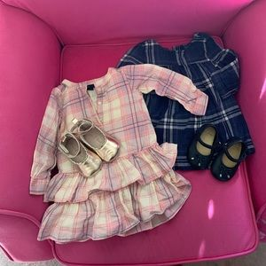 2 Baby Gap flannel dresses and 2 pairs of shoes